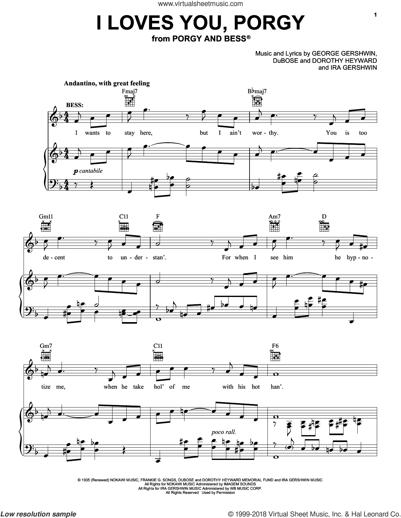 I Loves You, Porgy sheet music for voice, piano or guitar by George and Ira Gershwin, Dorothy Heyward, DuBose Heyward, George Gershwin and Ira Gershwin, intermediate skill level