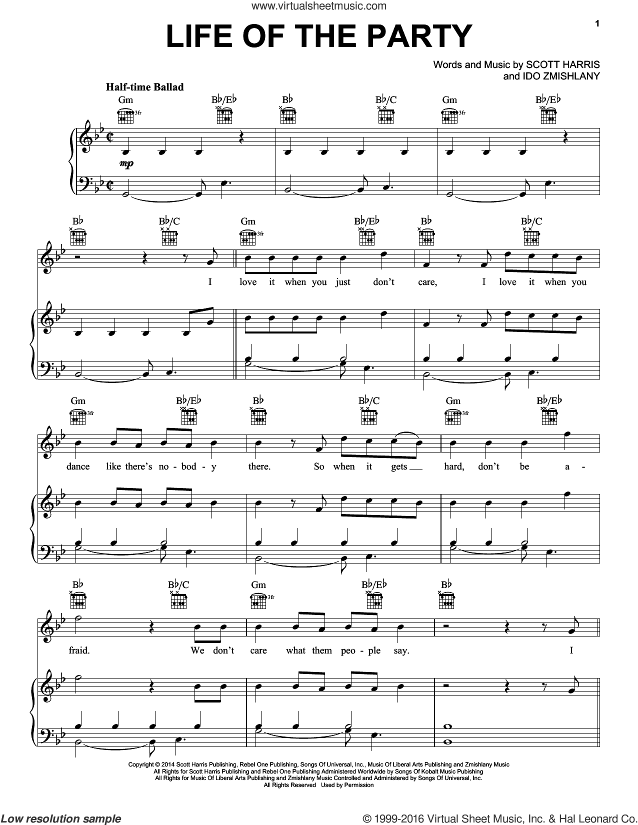 Life Of The Party sheet music for voice, piano or guitar by Shawn Mendes, Ido Zmishlany and Scott Harris, intermediate skill level