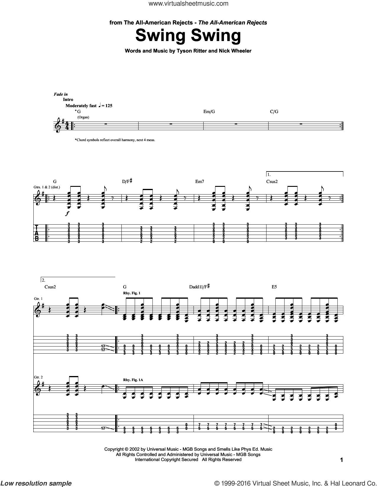 Swing Swing sheet music for guitar (tablature) by Tyson Ritter. Score Image Preview.
