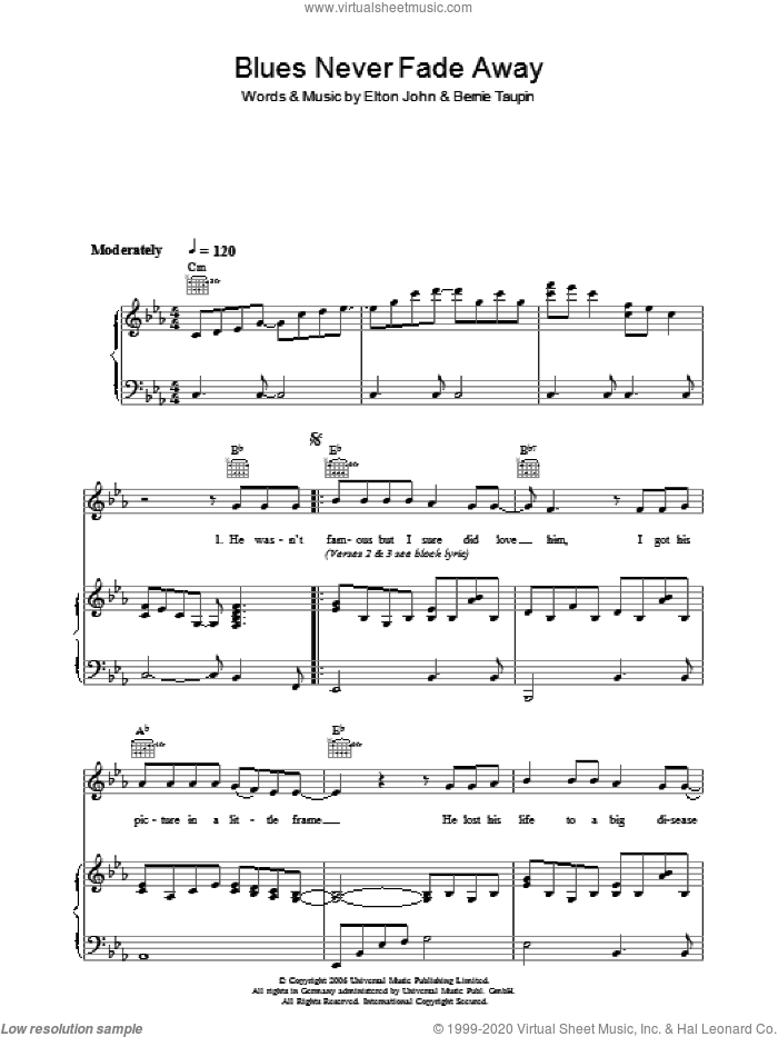 Blues Never Fade Away sheet music for voice, piano or guitar by Elton John and Bernie Taupin, intermediate voice, piano or guitar. Score Image Preview.