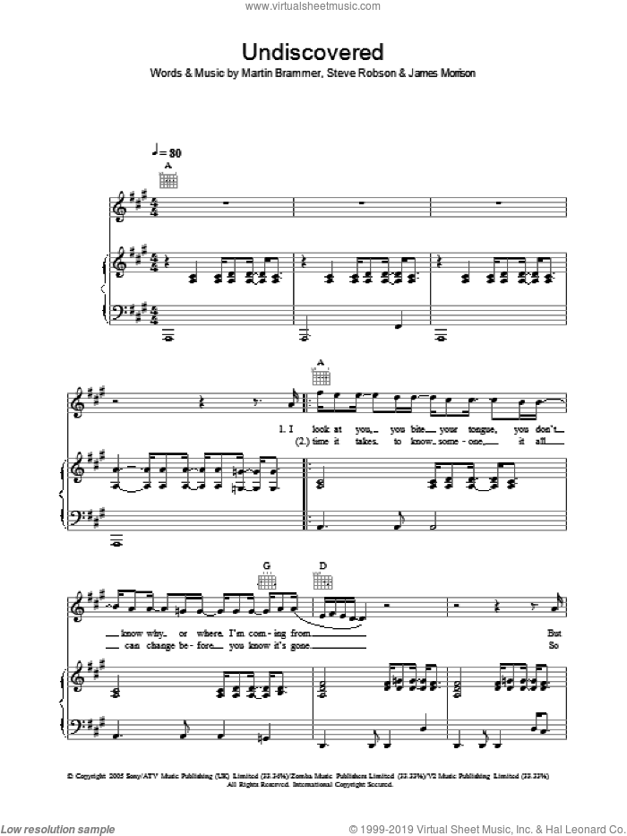 Undiscovered sheet music for voice, piano or guitar by James Morrison, intermediate voice, piano or guitar. Score Image Preview.