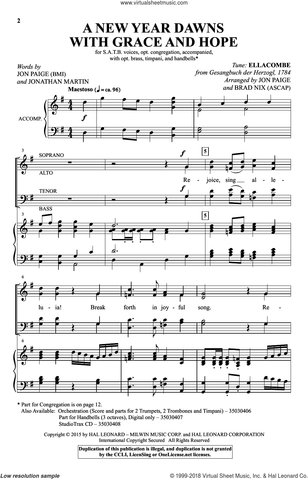 A New Year Dawns With Grace And Hope sheet music for choir and piano by Gesangbuch der Herzogl, Brad Nix, Jon Paige and Jonathan Martin. Score Image Preview.
