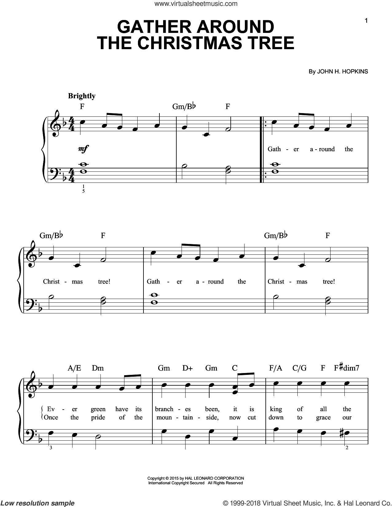 Gather Around The Christmas Tree, (beginner) sheet music for piano solo by John H. Hopkins, beginner skill level
