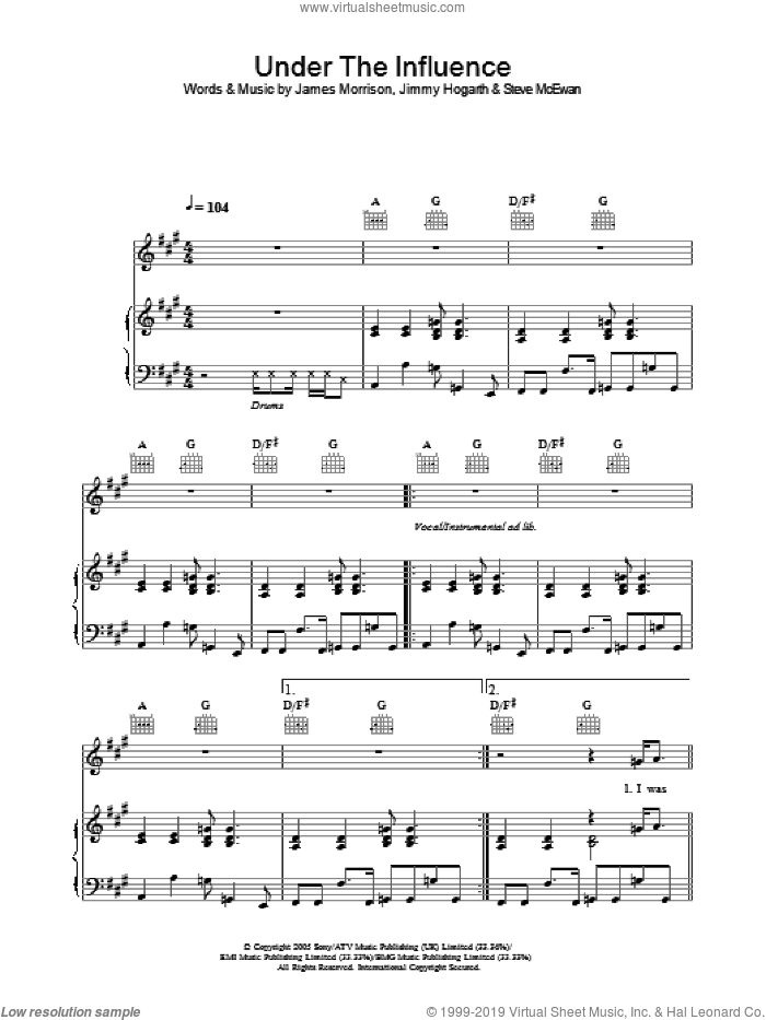 Under The Influence sheet music for voice, piano or guitar by Steve McEwan, James Morrison and James Hogarth. Score Image Preview.