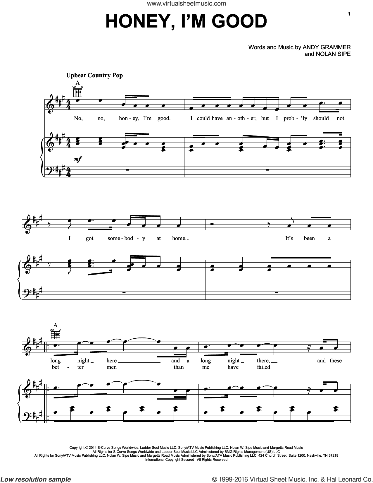 Honey, I'm Good sheet music for voice, piano or guitar by Andy Grammer and Nolan Sipe, intermediate skill level