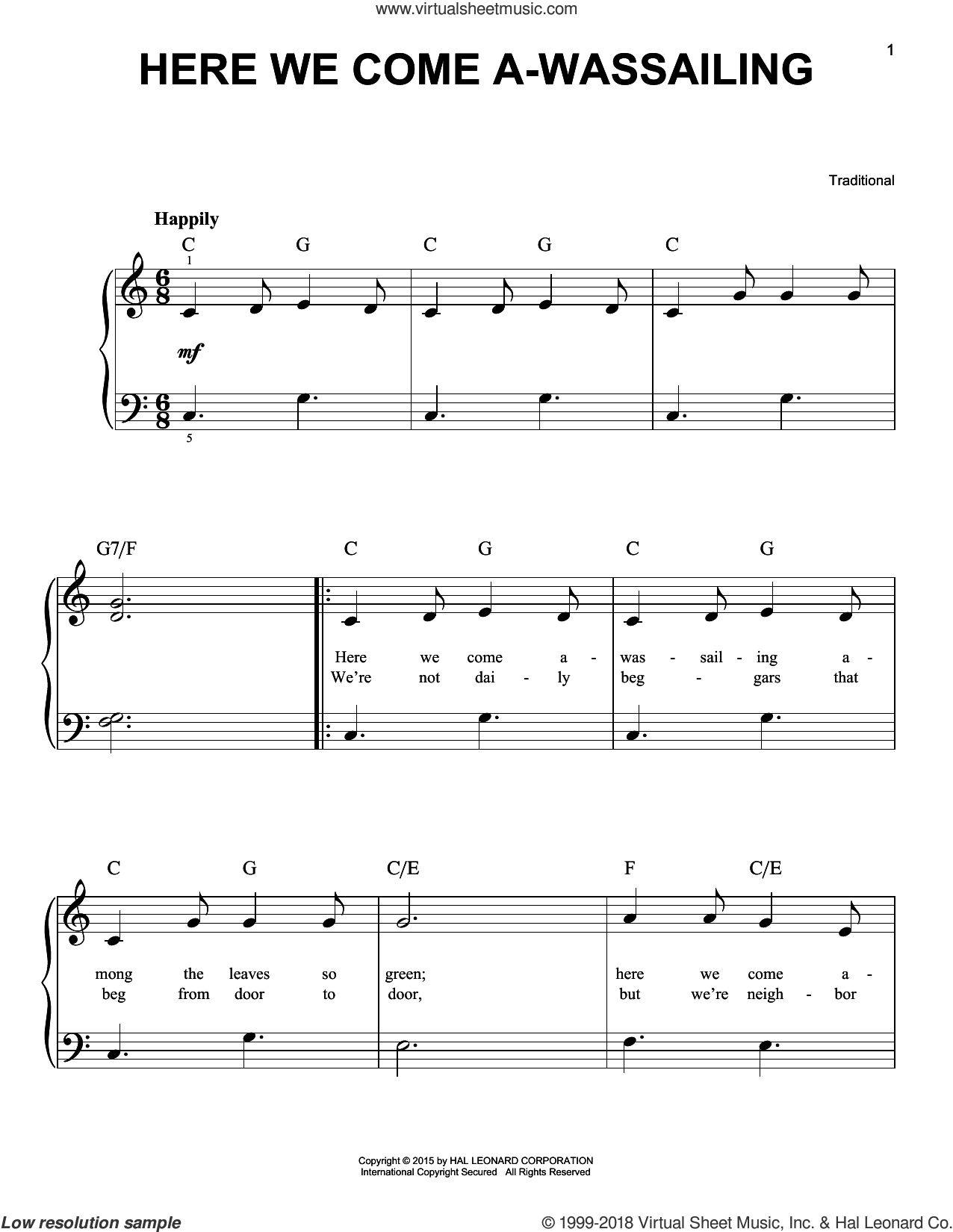 Here We Come A-Wassailing sheet music for piano solo, beginner skill level
