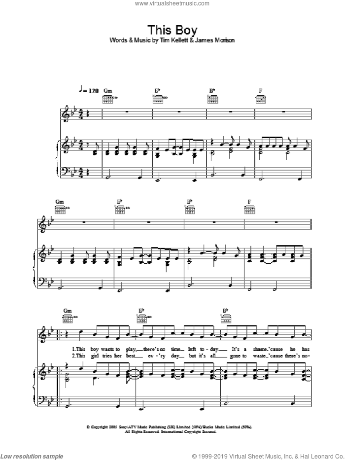 This Boy sheet music for voice, piano or guitar by Tim Kellett and James Morrison. Score Image Preview.