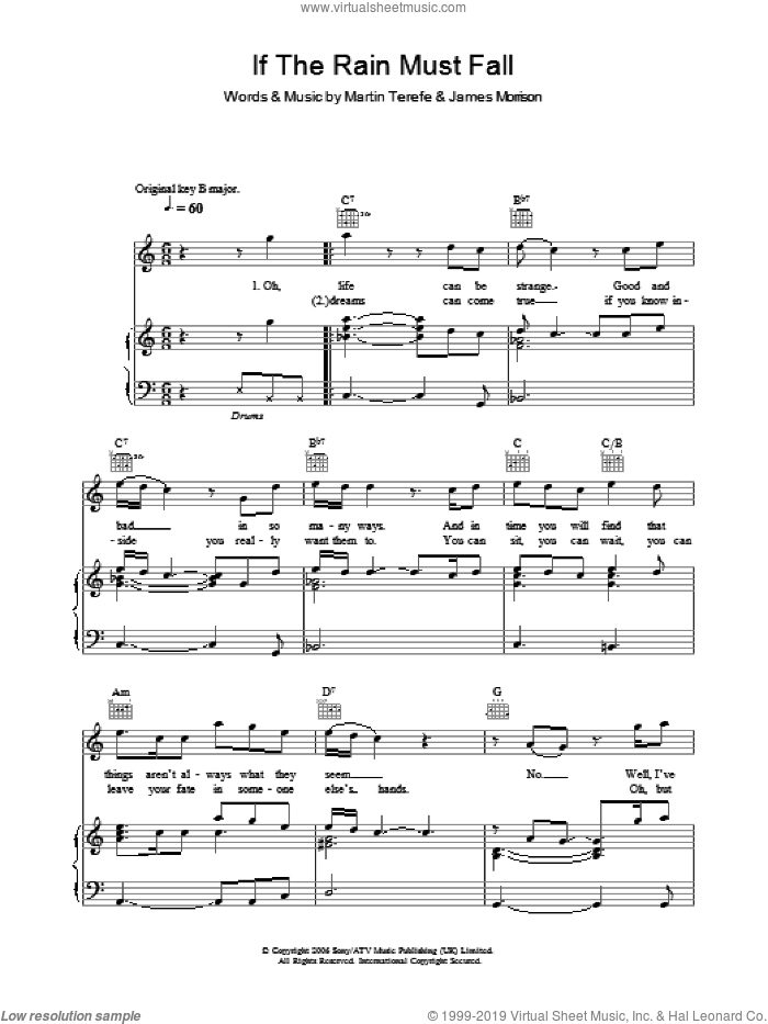 If The Rain Must Fall sheet music for voice, piano or guitar by Martin Terefe and James Morrison. Score Image Preview.