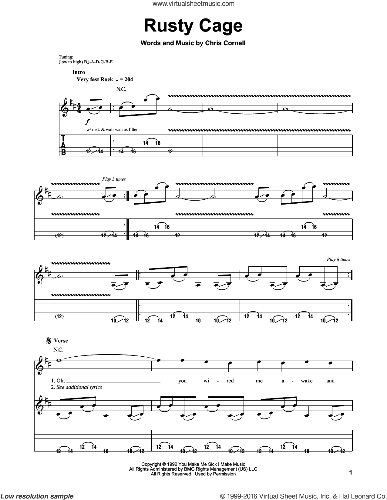 Rusty Cage sheet music for guitar (tablature, play-along) by Chris Cornell and Soundgarden. Score Image Preview.