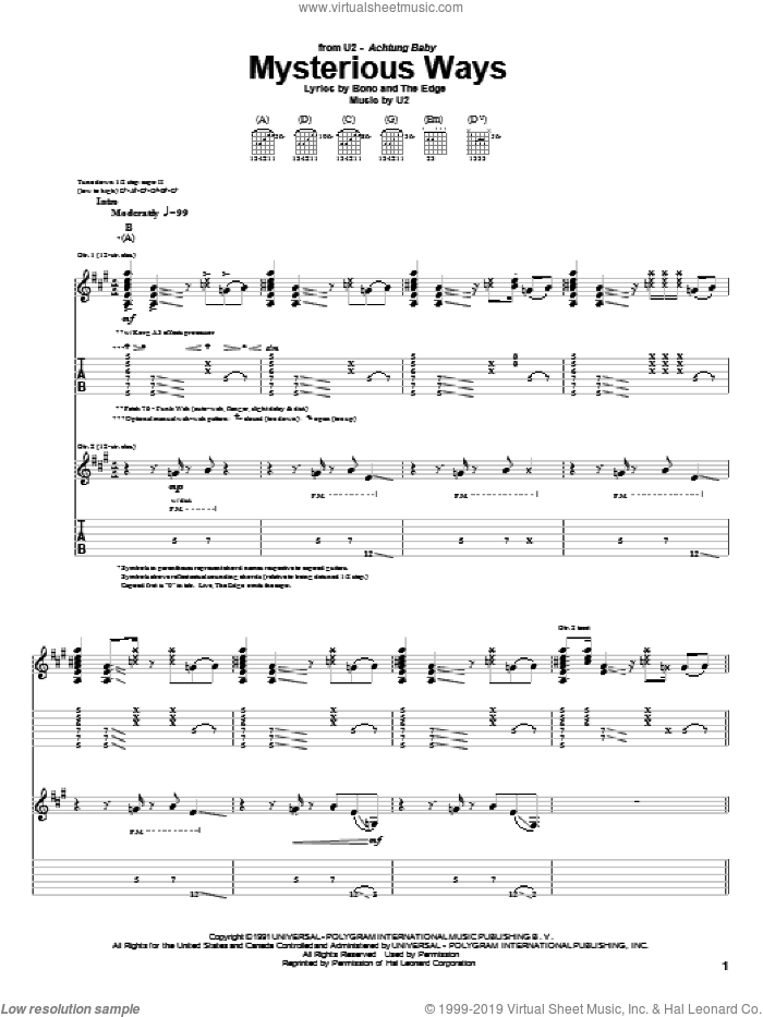 Mysterious Ways sheet music for guitar (tablature) by The Edge, Bono and U2. Score Image Preview.