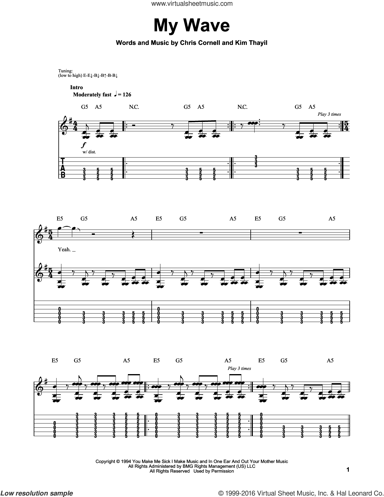 My Wave sheet music for guitar (tablature, play-along) by Kim Thayil, Soundgarden and Chris Cornell. Score Image Preview.