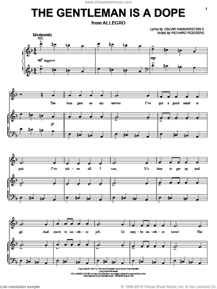 The Gentleman Is A Dope sheet music for voice, piano or guitar by Hammerstein, Rodgers &, Allegro (Musical), Oscar II Hammerstein and Richard Rodgers, intermediate skill level