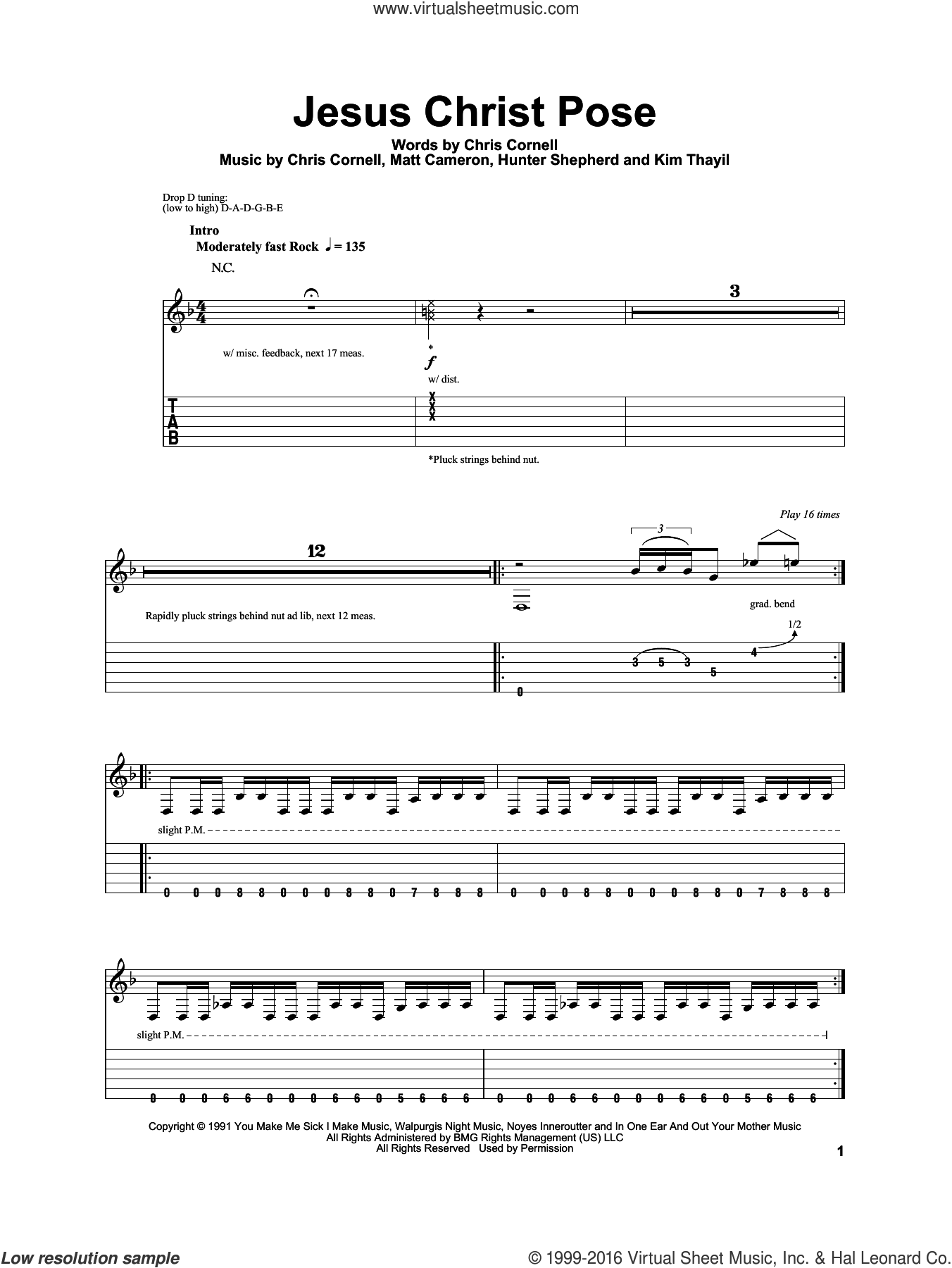 Jesus Christ Pose sheet music for guitar (tablature, play-along) by Soundgarden, Chris Cornell, Hunter Shepherd, Kim Thayil and Matt Cameron, intermediate