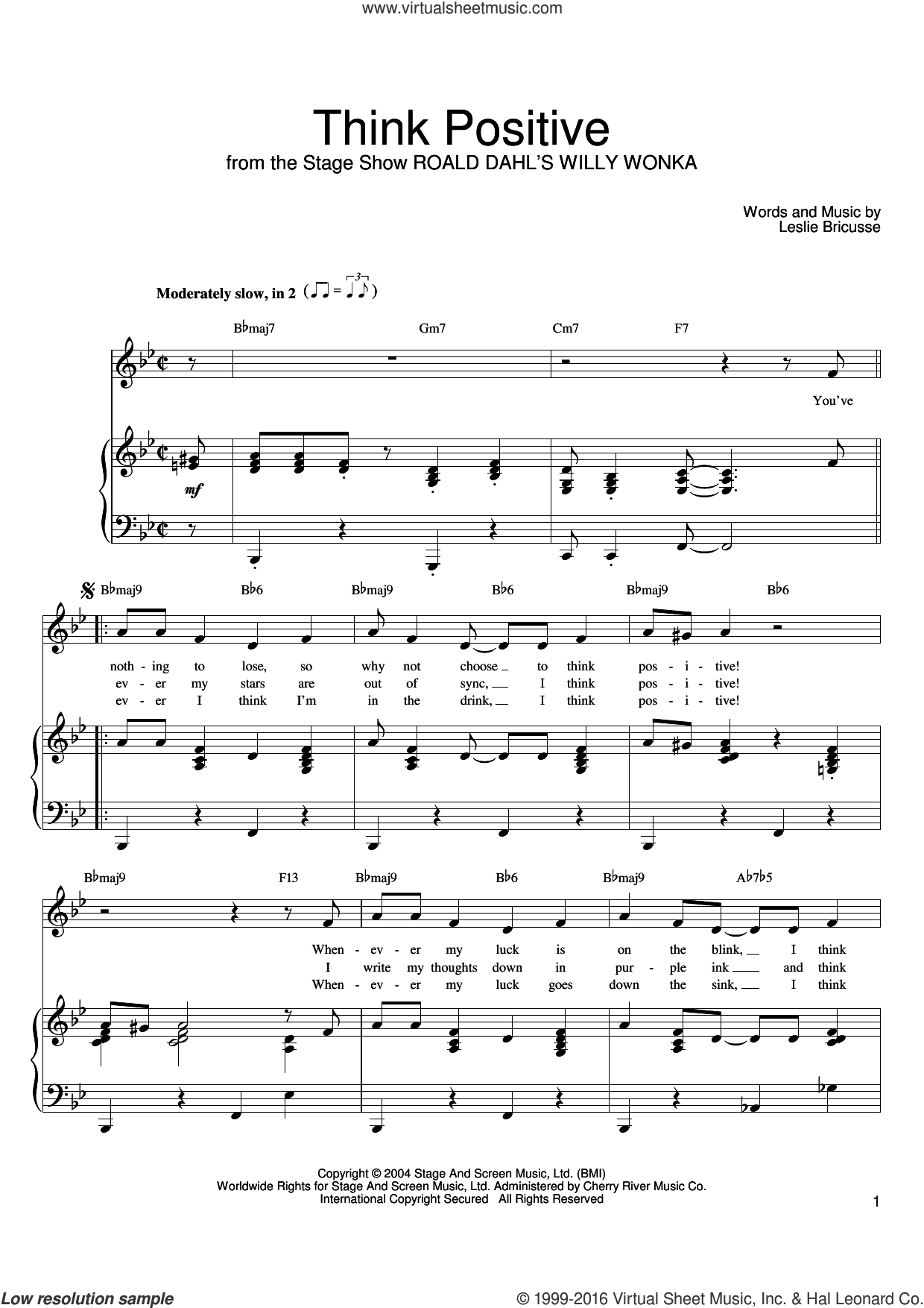 Think Positive sheet music for voice, piano or guitar by Leslie Bricusse. Score Image Preview.
