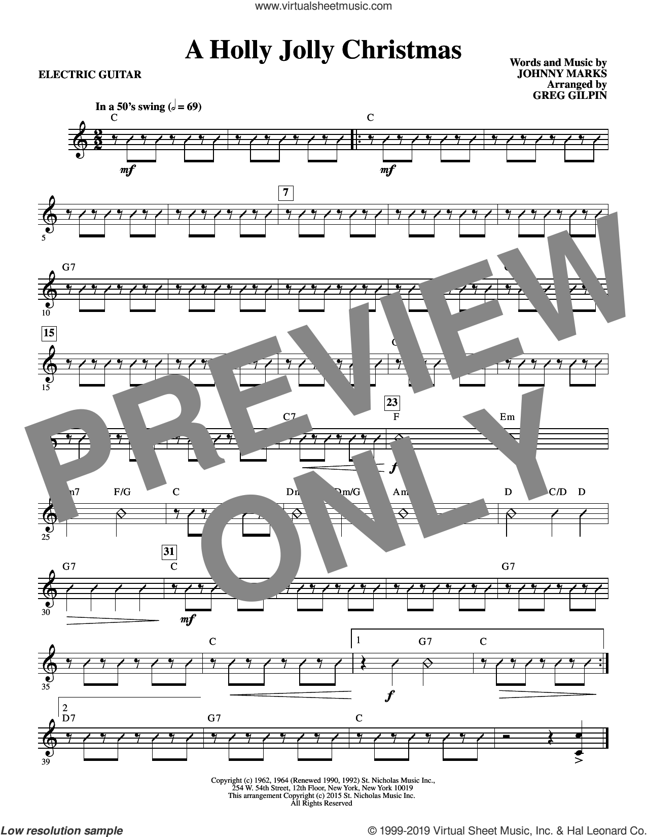 A Holly, Jolly Christmas (arr. Greg Gilpin) (complete set of parts) sheet music for orchestra/band by Greg Gilpin, Johnny Marks and Lady Antebellum, intermediate skill level