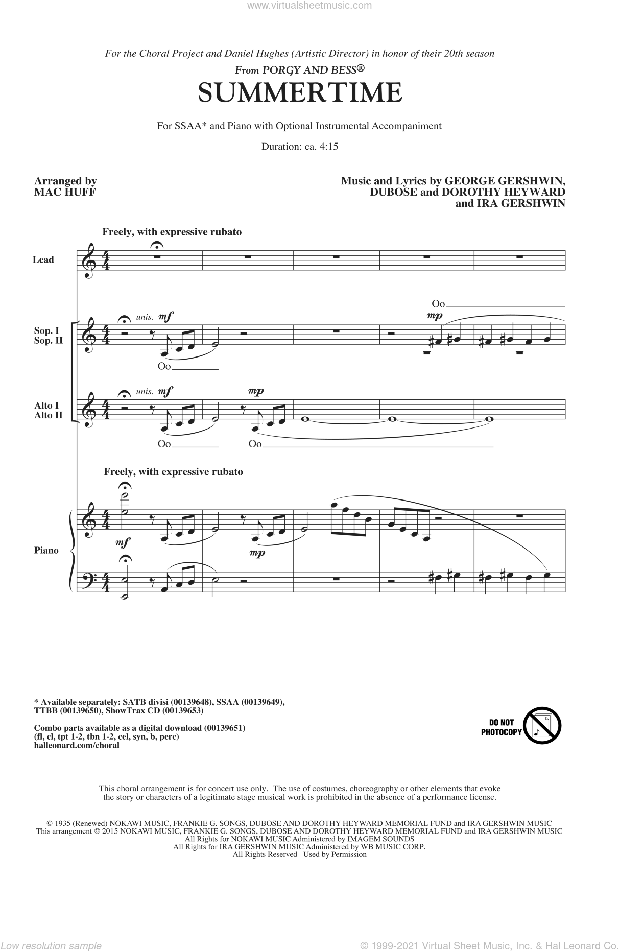 Summertime sheet music for choir and piano (SSA) by Mac Huff, Dorothy Heyward, DuBose Heyward, George Gershwin and Ira Gershwin. Score Image Preview.