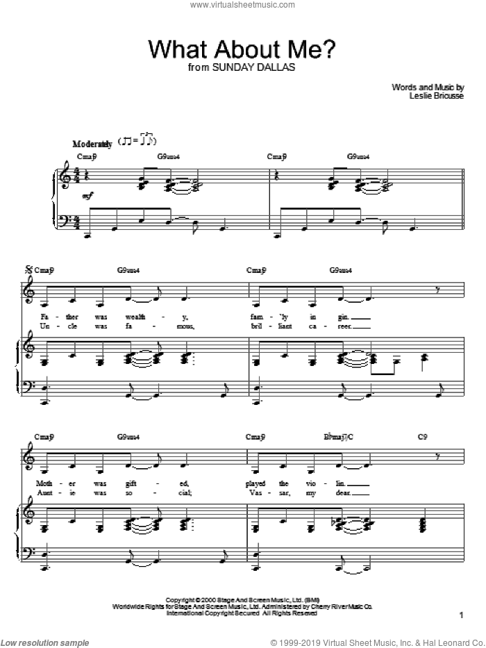 What About Me? sheet music for voice, piano or guitar by Leslie Bricusse, intermediate skill level