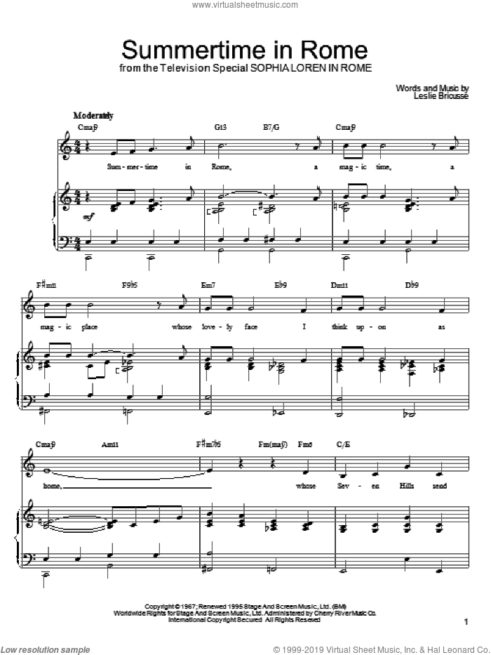 Summertime In Rome sheet music for voice, piano or guitar by Leslie Bricusse. Score Image Preview.
