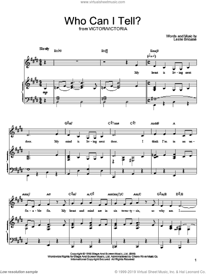 Who Can I Tell? sheet music for voice, piano or guitar by Leslie Bricusse, intermediate skill level