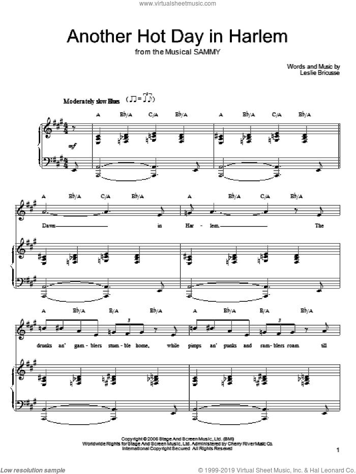 Another Hot Day In Harlem sheet music for voice, piano or guitar by Leslie Bricusse, intermediate skill level