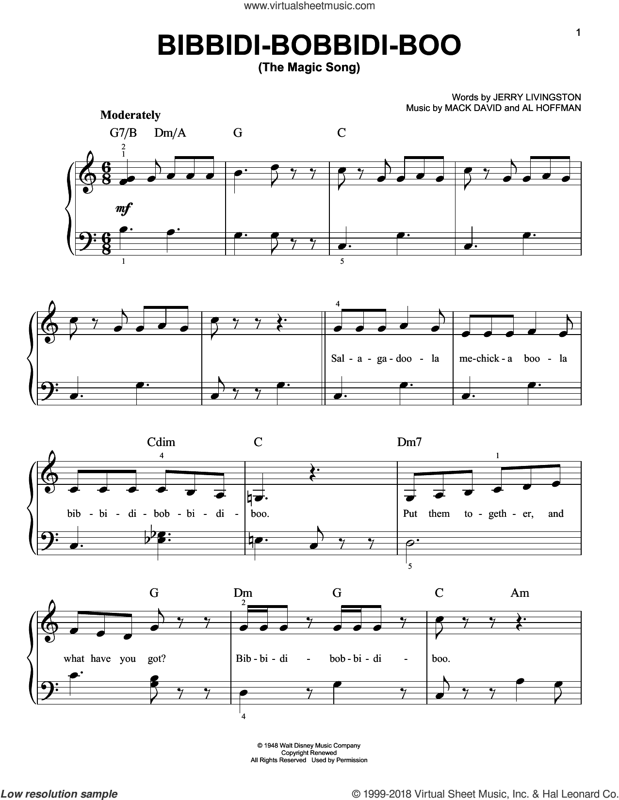 Bibbidi-Bobbidi-Boo (The Magic Song), (Easy) sheet music for piano solo by Al Hoffman, Patrick Doyle, Jerry Livingston and Mack David, easy. Score Image Preview.