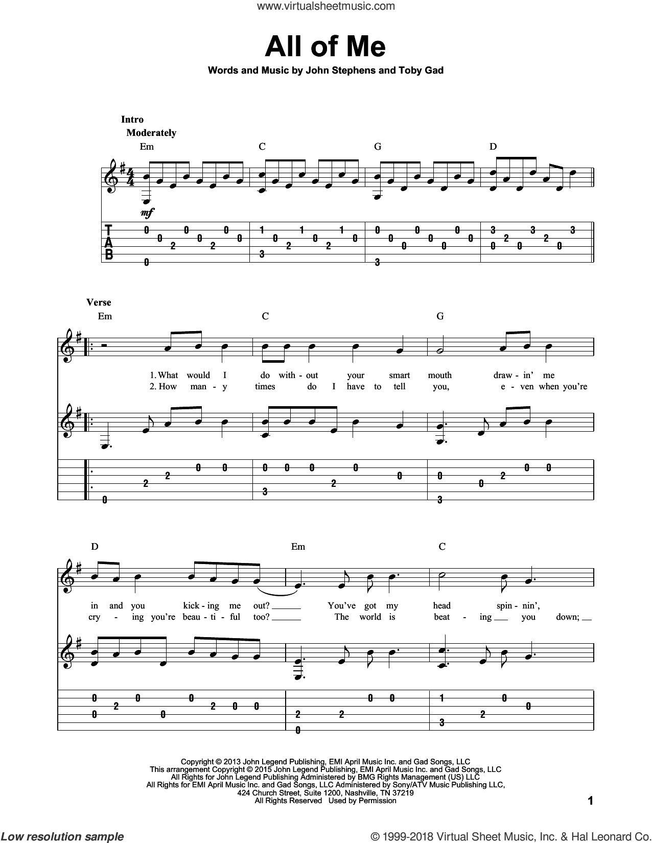 All Of Me sheet music for guitar solo by John Legend, John Stephens and Toby Gad, wedding score, intermediate skill level