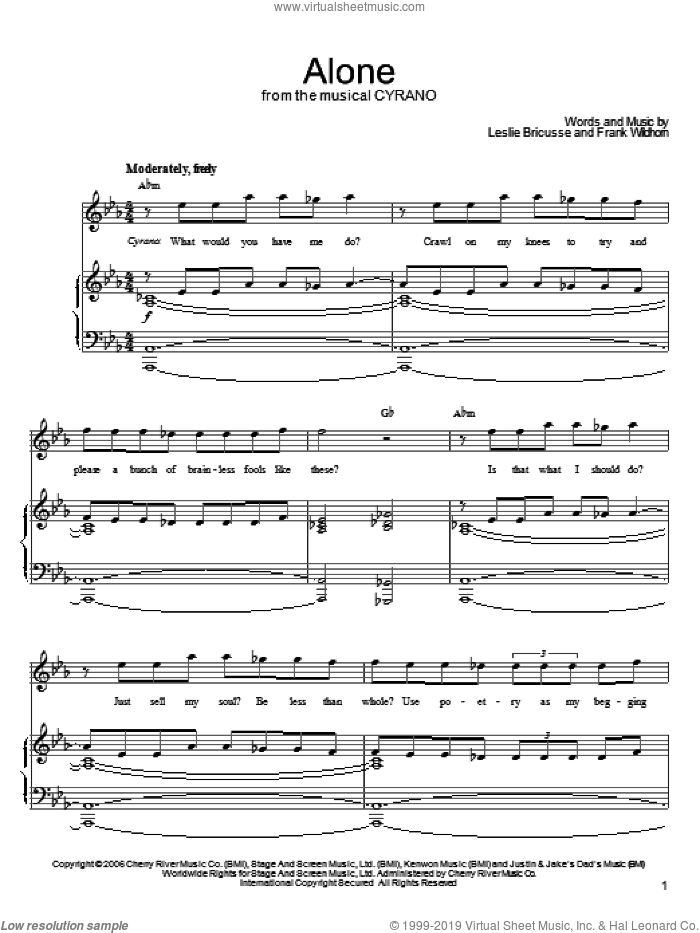 Alone sheet music for voice, piano or guitar by Frank Wildhorn and Leslie Bricusse. Score Image Preview.
