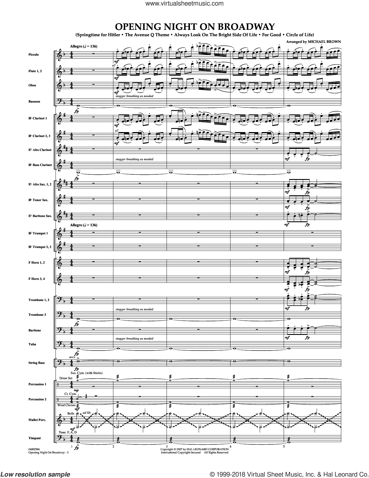 Opening Night on Broadway (COMPLETE) sheet music for concert band by Michael Brown, intermediate skill level