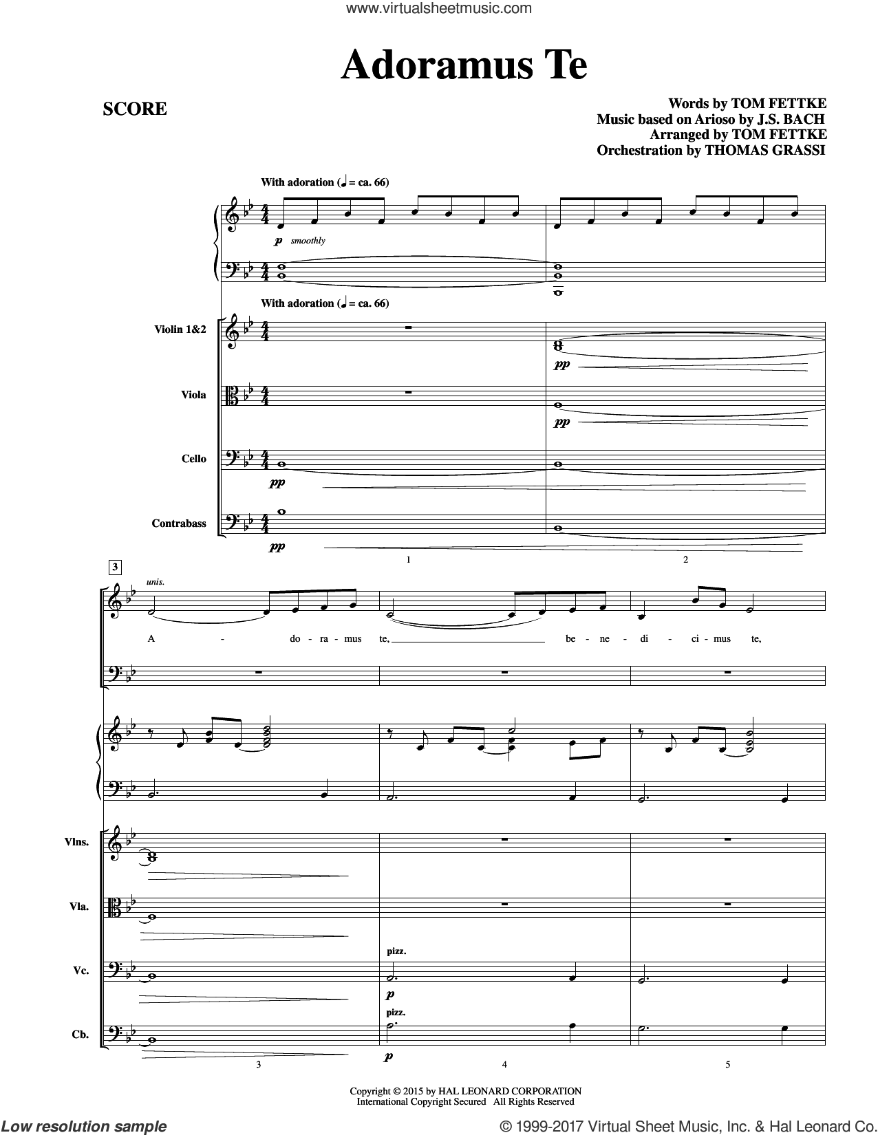 Adoramus Te (COMPLETE) sheet music for orchestra/band by Johann Sebastian Bach and Tom Fettke, classical score, intermediate. Score Image Preview.