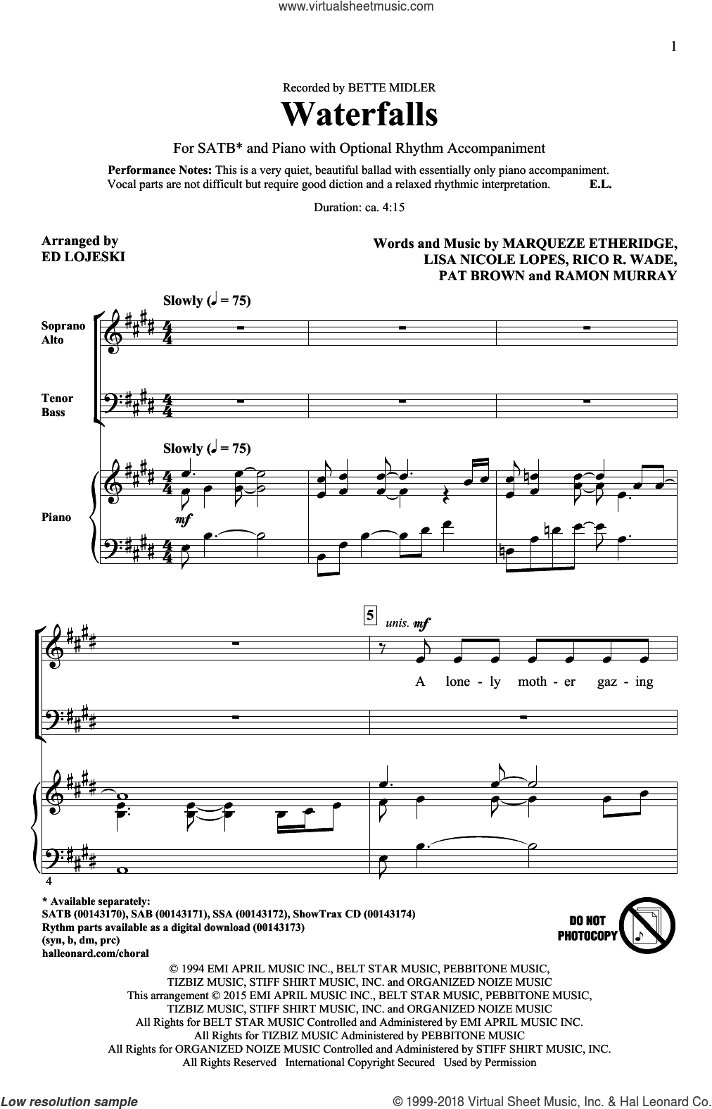 Waterfalls sheet music for choir and piano (SATB) by Rico Wade, Ed Lojeski, Bette Midler and Marqueze Etheridge. Score Image Preview.