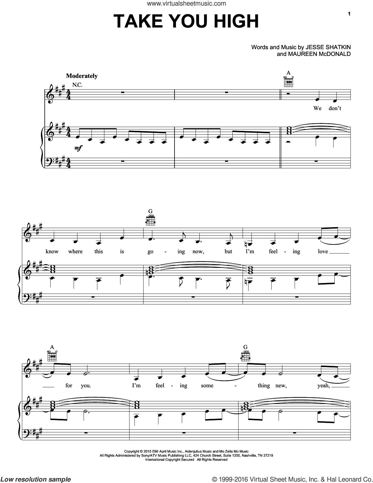Take You High sheet music for voice, piano or guitar by Maureen McDonald, Kelly Clarkson and Jesse Shatkin. Score Image Preview.
