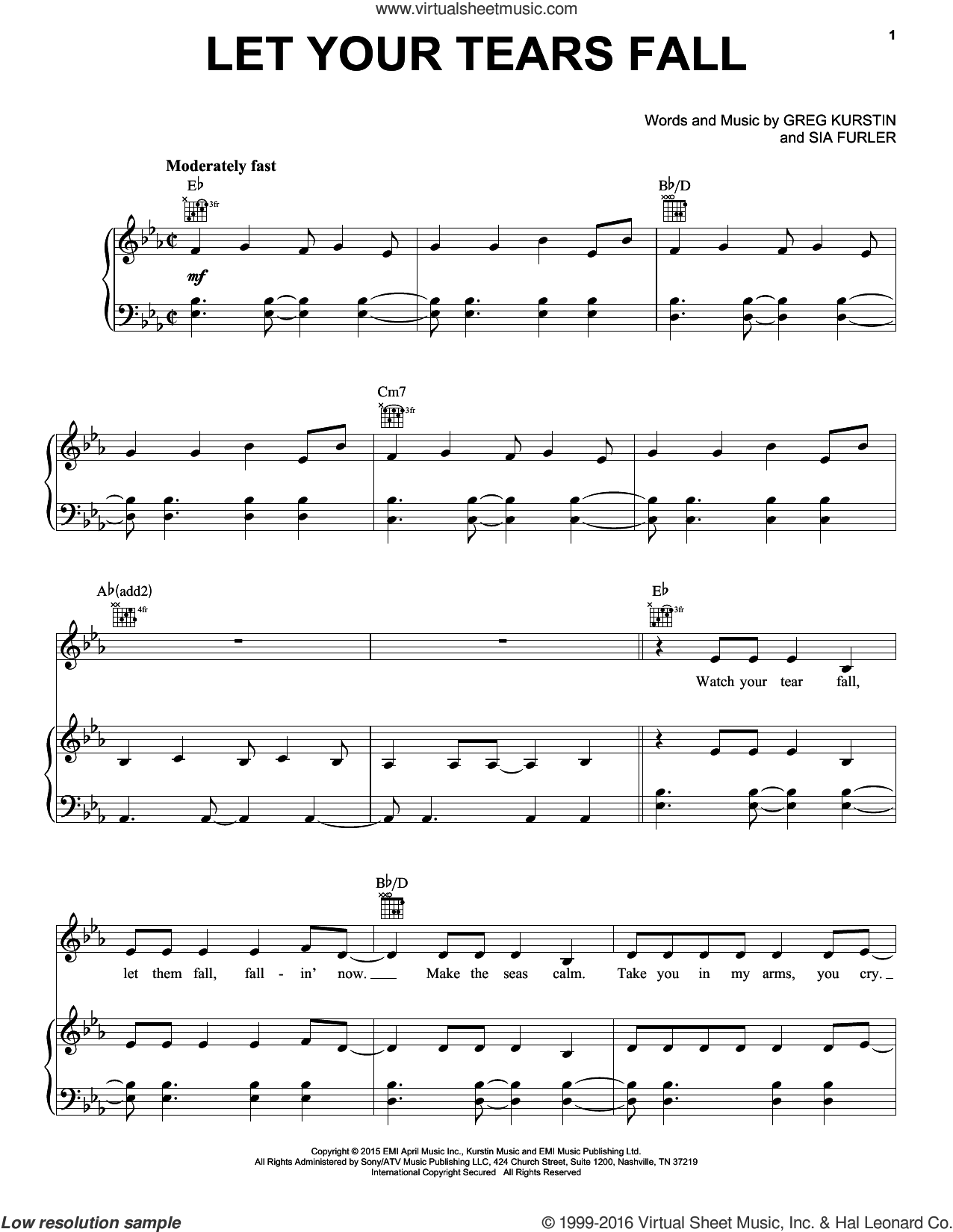 Let Your Tears Fall sheet music for voice, piano or guitar by Kelly Clarkson, Greg Kurstin and Sia Furler, intermediate skill level