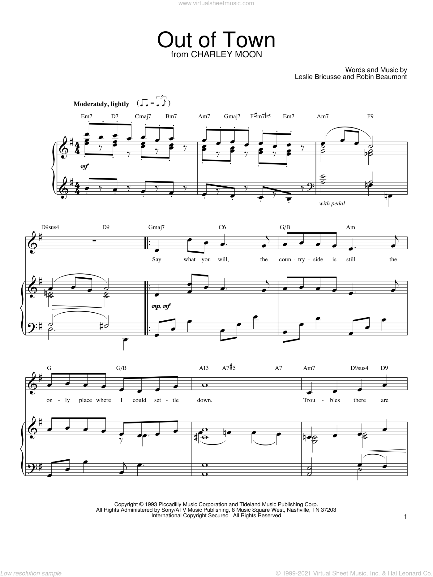 Out Of Town sheet music for voice, piano or guitar by Robin Beaumont and Leslie Bricusse. Score Image Preview.