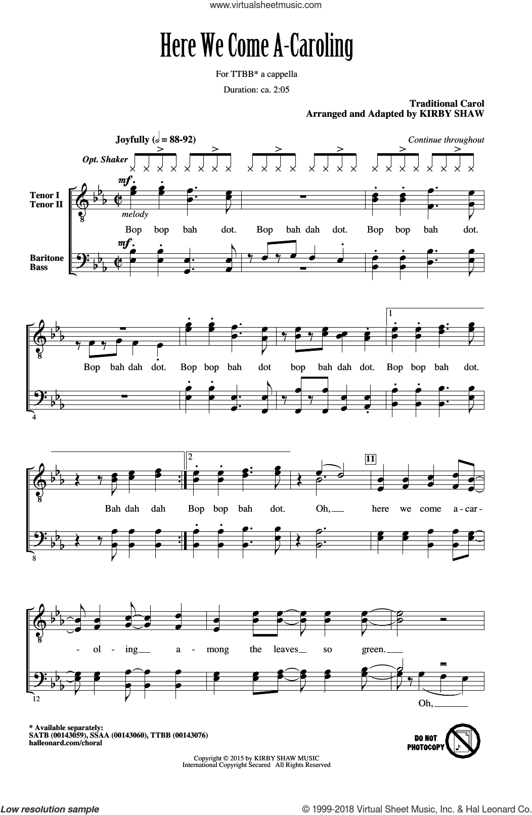 Here We Come A-Caroling sheet music for choir and piano (TTBB) by Kirby Shaw. Score Image Preview.