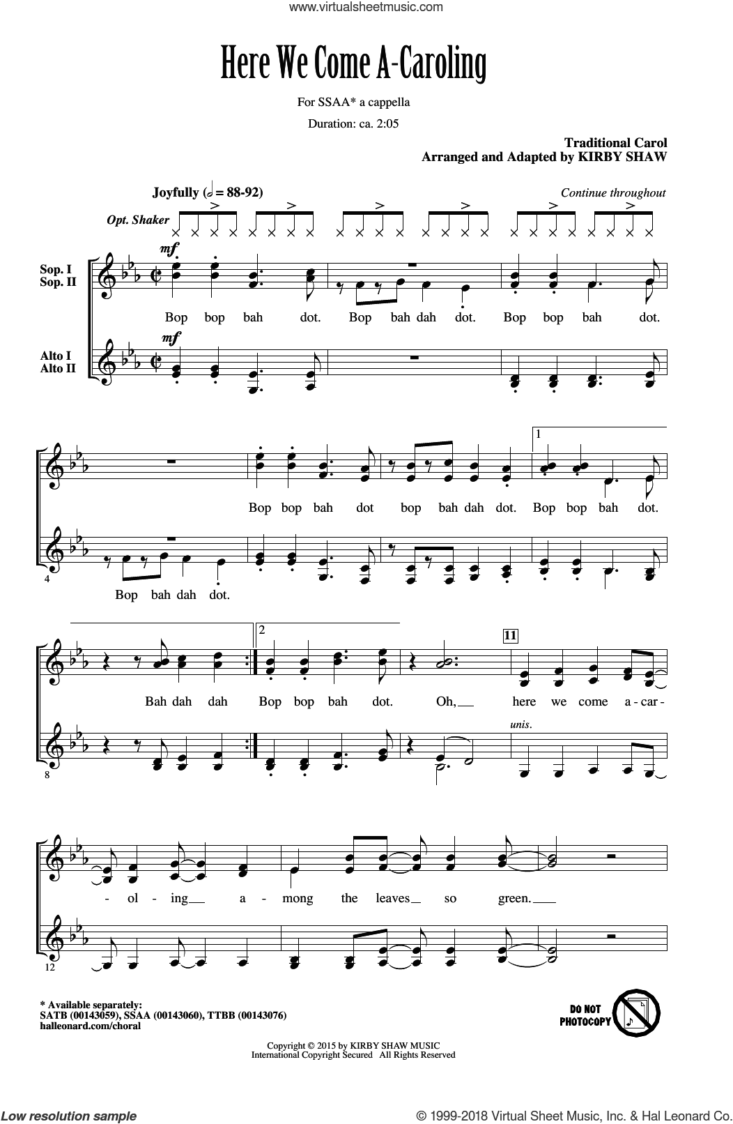 Here We Come A-Caroling sheet music for choir (SSA: soprano, alto) by Kirby Shaw, intermediate. Score Image Preview.