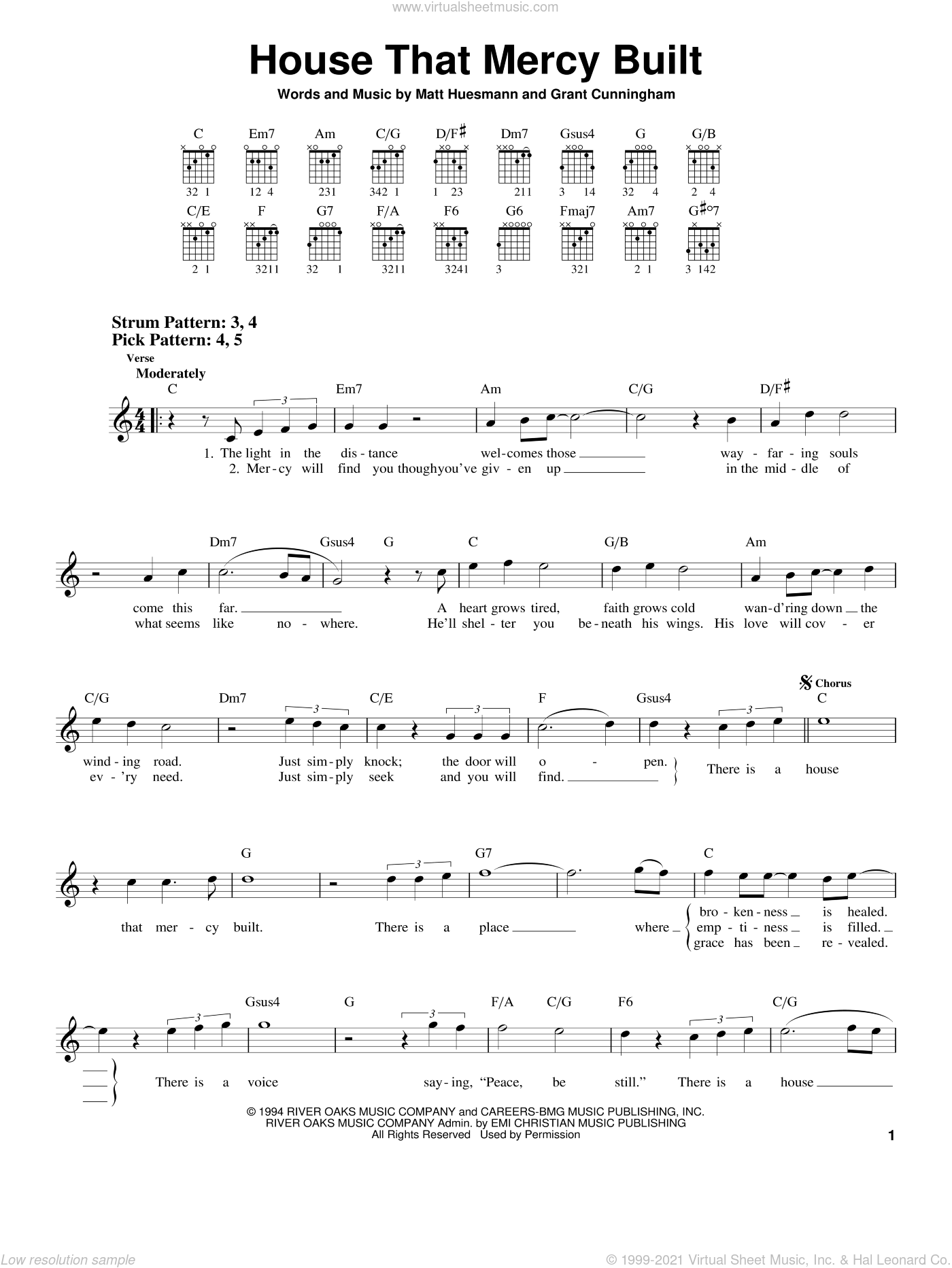 House That Mercy Built sheet music for guitar solo (chords) by Point Of Grace and Grant Cunningham. Score Image Preview.