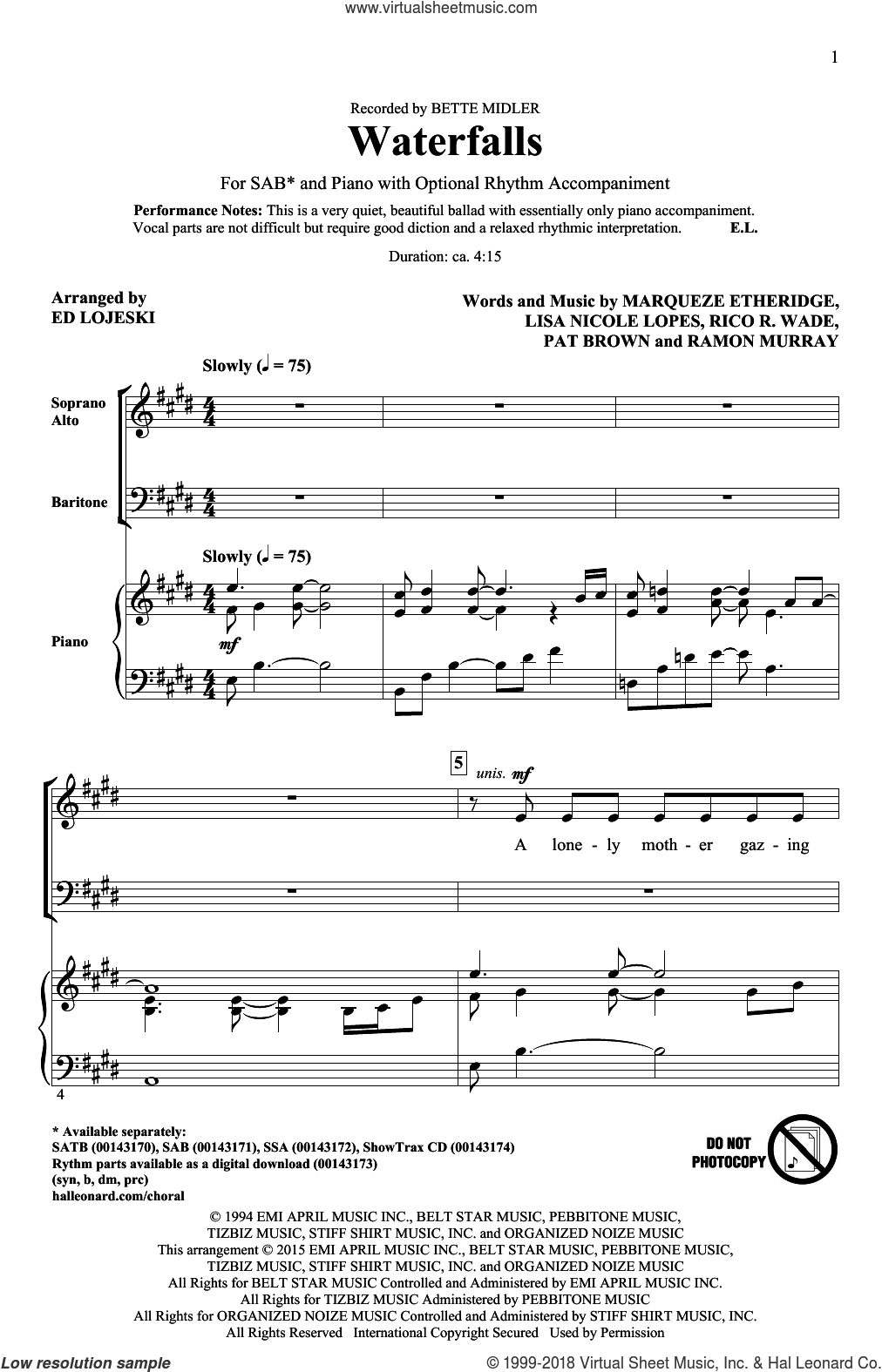 Waterfalls sheet music for choir (SAB: soprano, alto, bass) by Marqueze Etheridge, Ed Lojeski, Bette Midler, Lisa Nicole Lopes, Pat Brown, Ramon Murray and Rico Wade, intermediate skill level