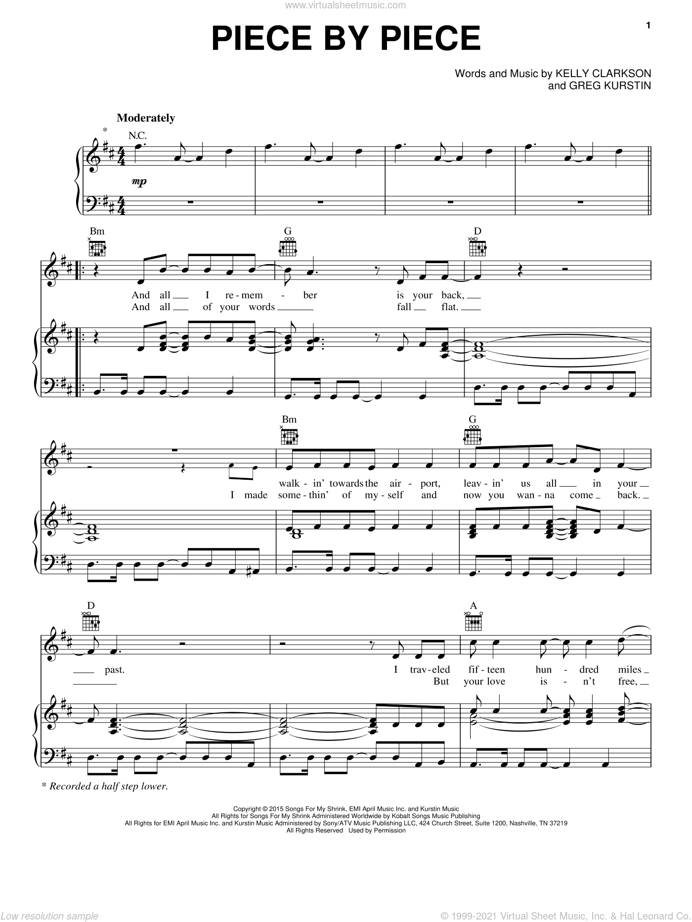 Piece By Piece sheet music for voice, piano or guitar by Kelly Clarkson and Greg Kurstin, intermediate skill level