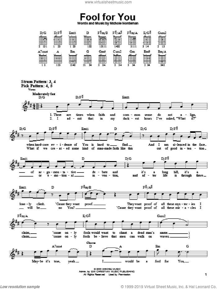 Fool For You sheet music for guitar solo (chords) by Nichole Nordeman. Score Image Preview.