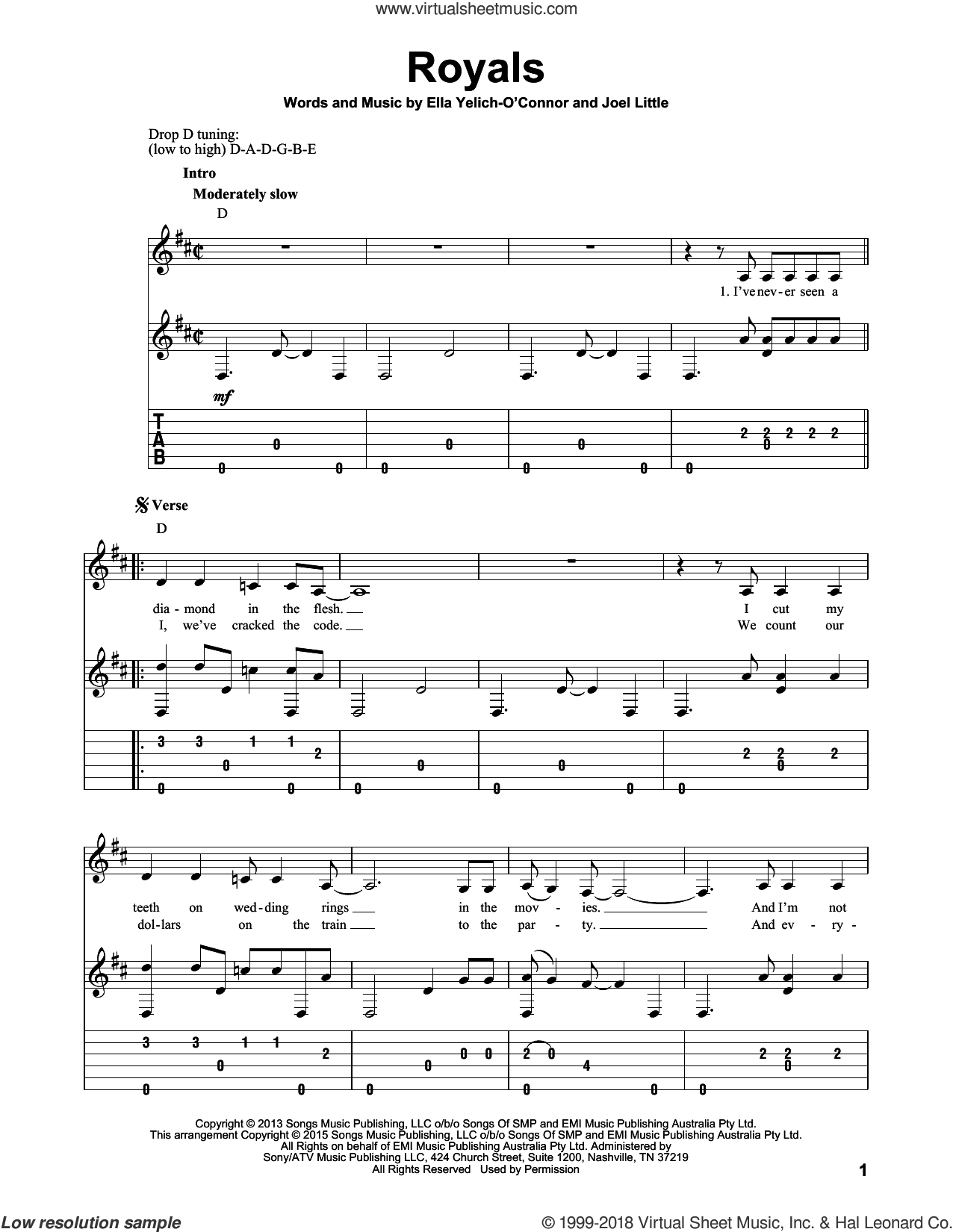 Royals sheet music for guitar solo by Lorde and Joel Little, intermediate skill level