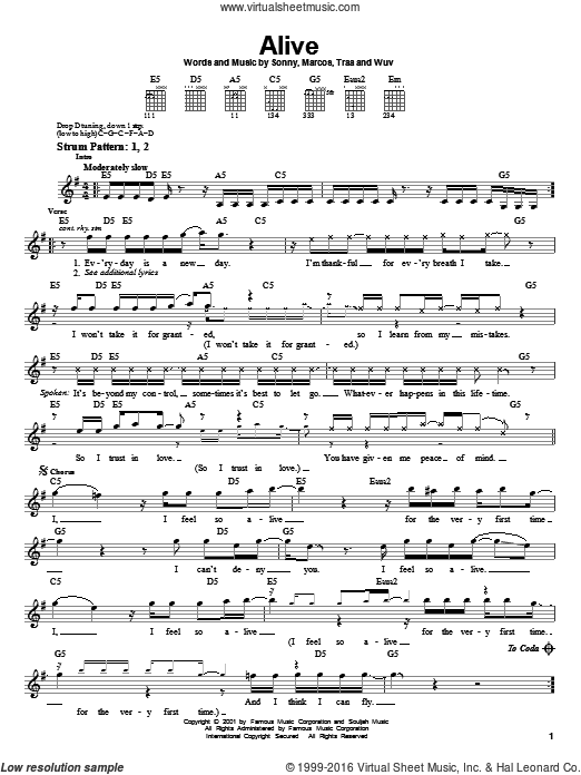 Alive sheet music for guitar solo (chords) by Wuv and Traa. Score Image Preview.