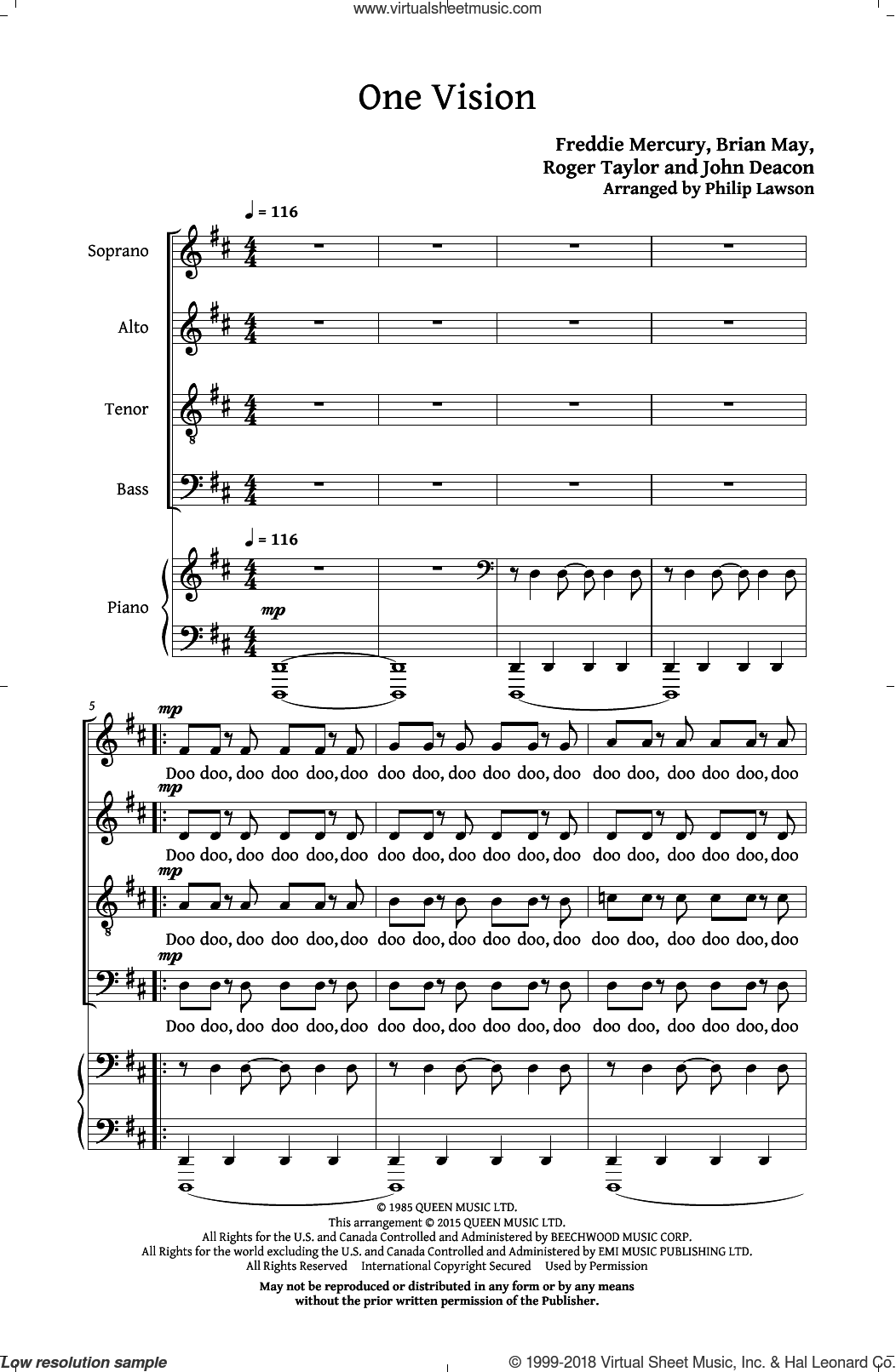 One Vision sheet music for choir and piano (SATB) by Roger Taylor, Philip Lawson, Queen, Brian May, Freddie Mercury and John Deacon. Score Image Preview.