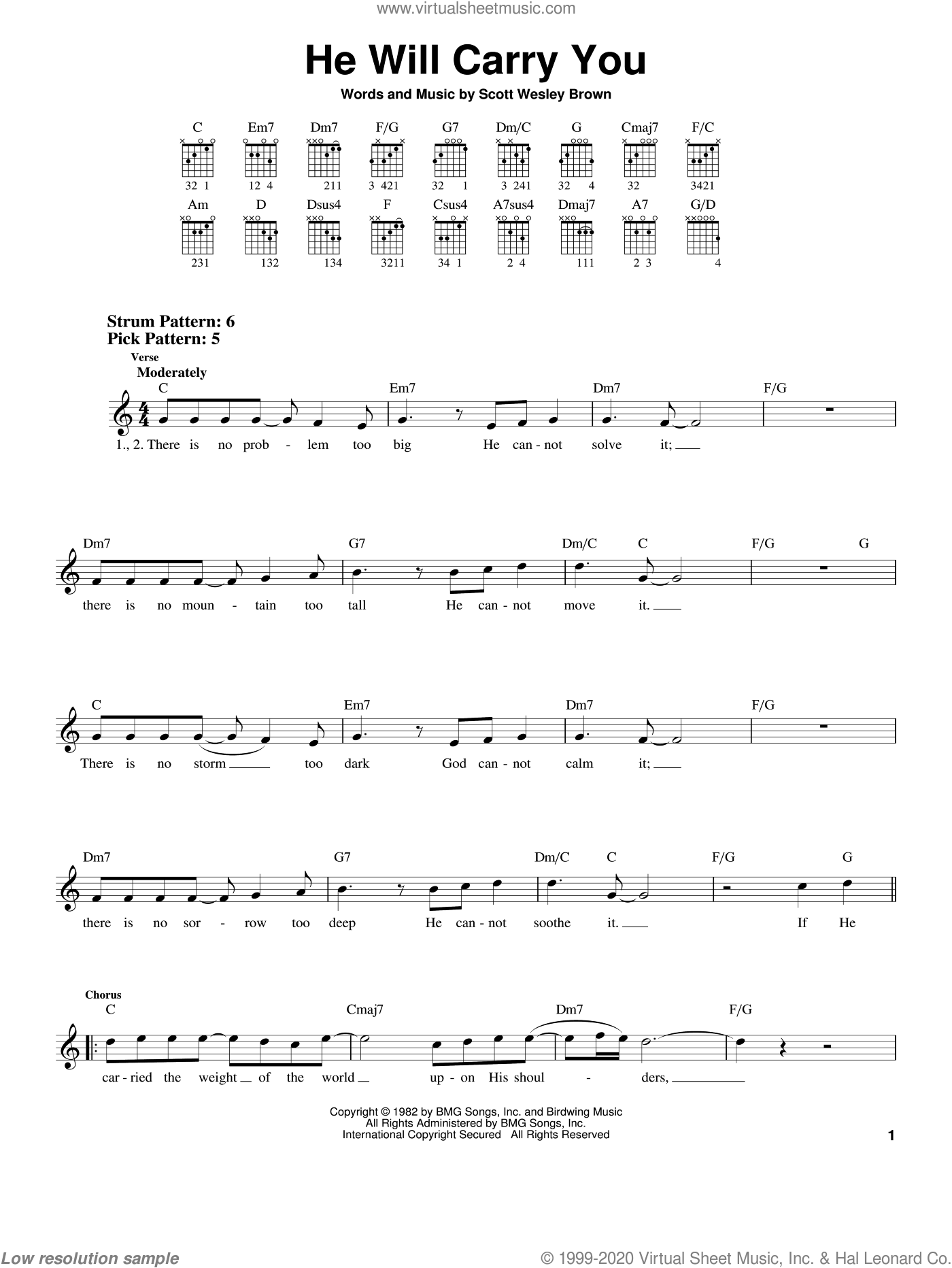 He Will Carry You sheet music for guitar solo (chords) by Scott Wesley Brown, easy guitar (chords)