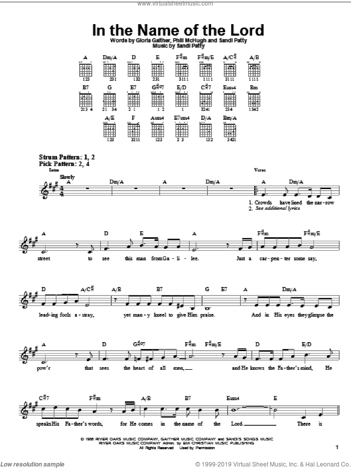 In The Name Of The Lord sheet music for guitar solo (chords) by Sandi Patty, Gloria Gaither and Phill McHugh. Score Image Preview.