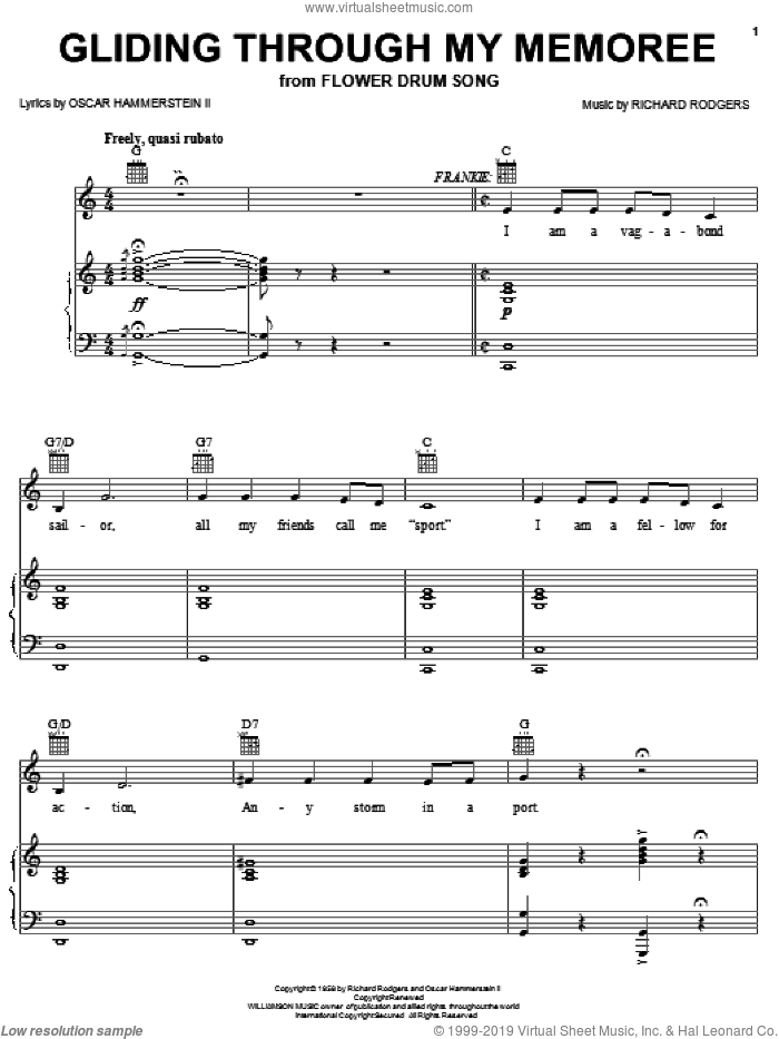 Gliding Through My Memoree sheet music for voice, piano or guitar by Rodgers & Hammerstein, Oscar II Hammerstein and Richard Rodgers. Score Image Preview.