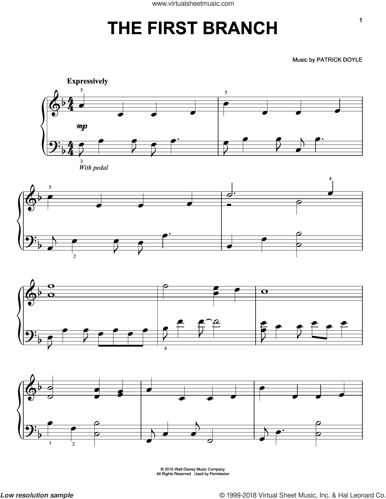 The First Branch sheet music for piano solo by Patrick Doyle, easy skill level