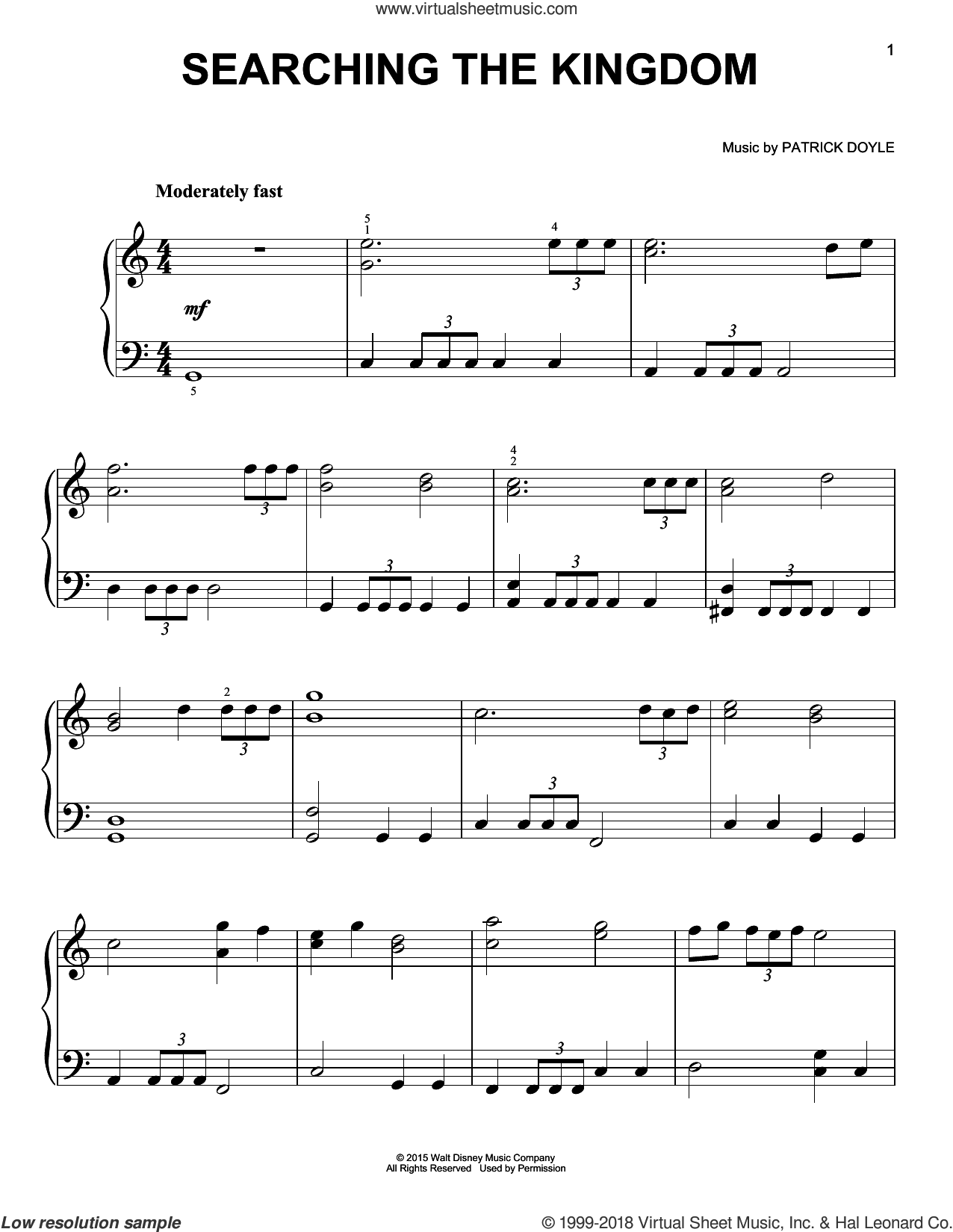 Searching The Kingdom sheet music for piano solo by Patrick Doyle, easy skill level