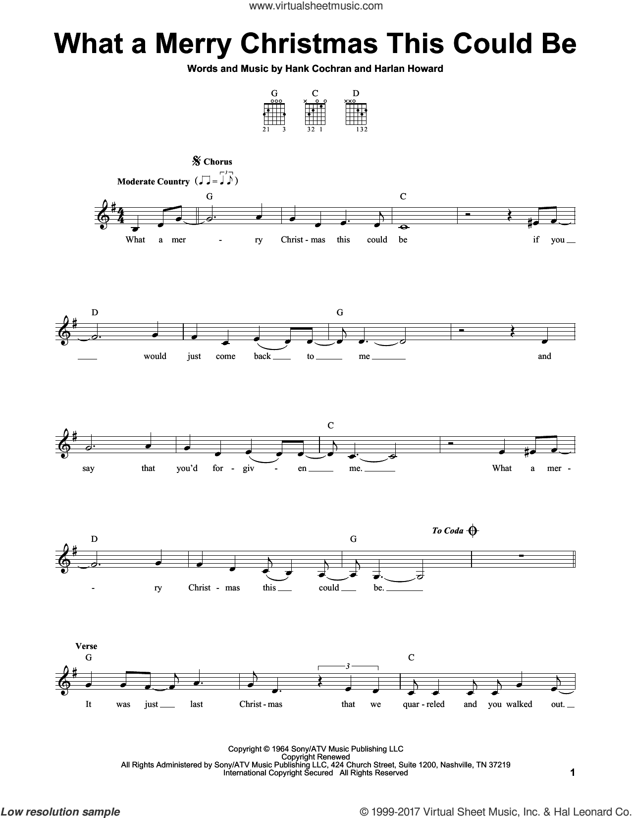 What A Merry Christmas This Could Be sheet music for guitar solo (chords) by Hank Cochran and Harlan Howard, easy guitar (chords)