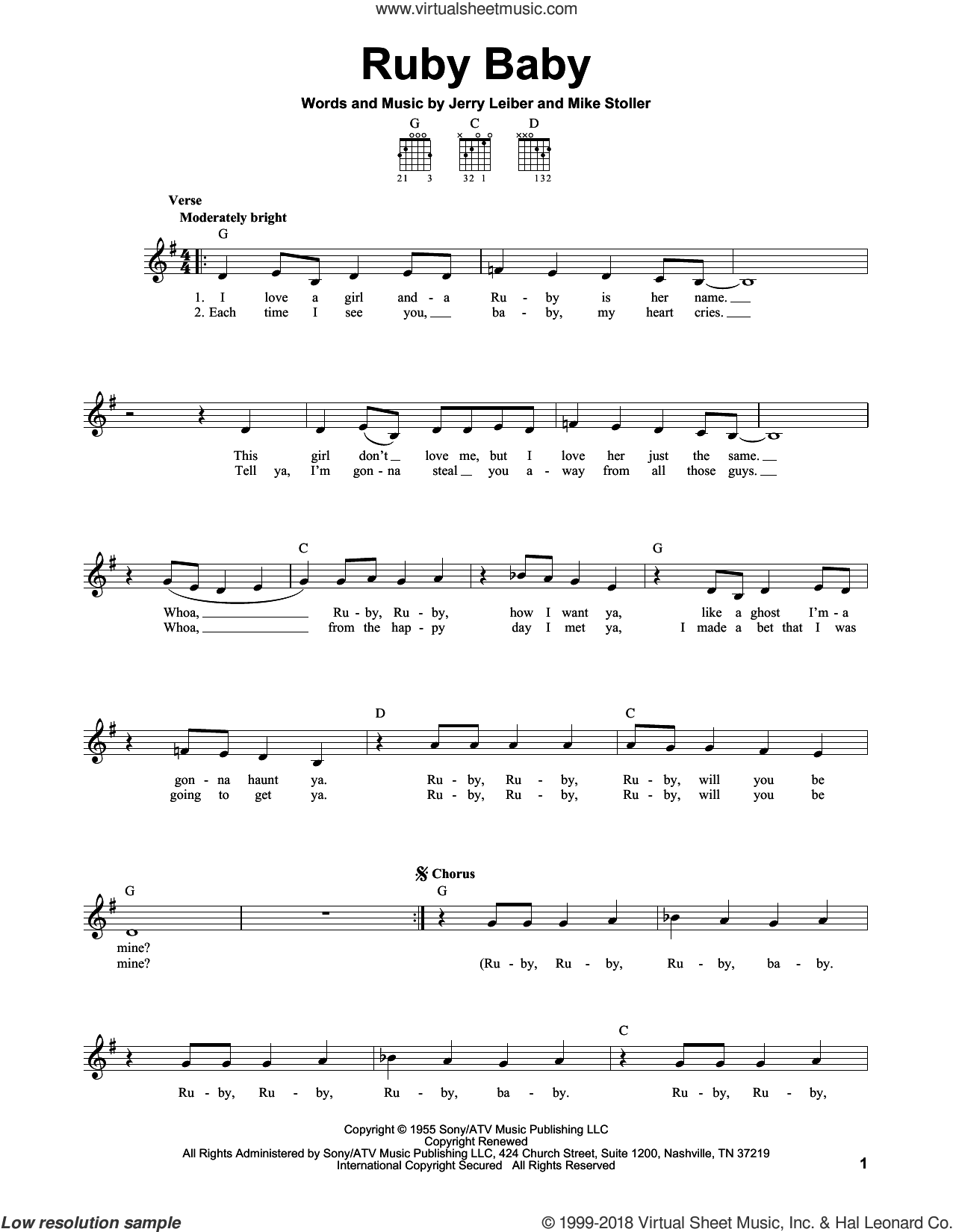 Ruby Baby sheet music for guitar solo (chords) by Mike Stoller, The Drifters and Jerry Leiber. Score Image Preview.