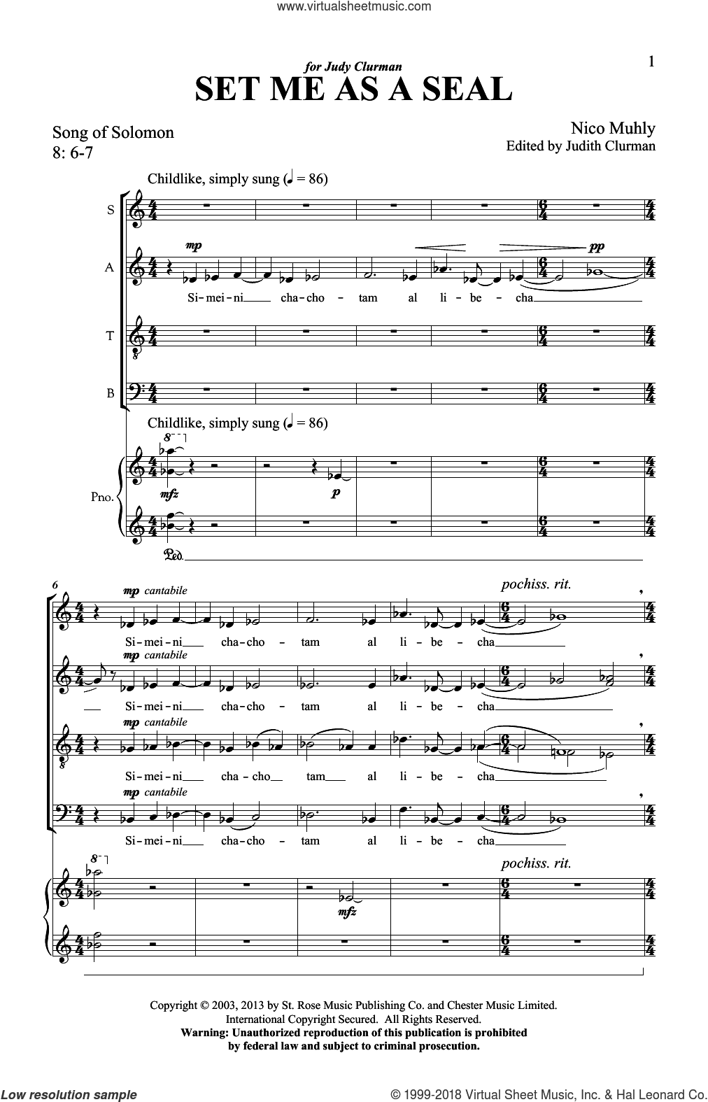 Set Me As A Seal sheet music for choir (SATB) by Nico Muhly. Score Image Preview.